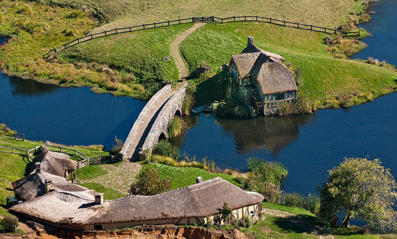 Aerial view of 'The Hobbit' film set, Matamata, Waikato, New Zealand - 04 May 2012